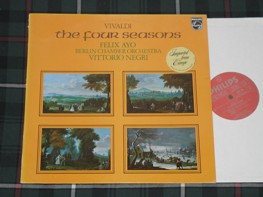 "Felix Ayo/Vittorio Negro/Berlin Chamber Orchestra - Vivaldi ""The Four Seasons"" Philips Import Pressing 96500 100 Holland pressing"