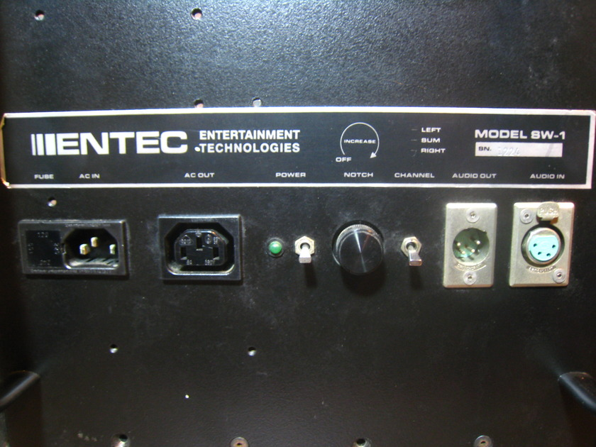 ENTEC SW-1 POWERED SUBWOOFERS  AUDIOPHILE QUALITY, PAIR, 15-100HZ CABLES, CROSSOVER MODULE,MANUAL ECT...