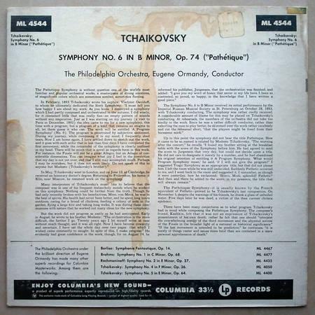 Ormandy/Tchaikovsky - Symphony No.6 / Columbia 6-eye ML 4544