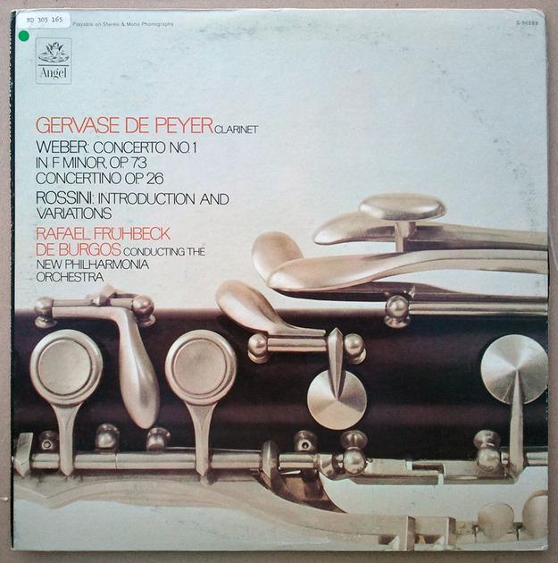 Angel/Gervase de Peyer/Weber - Clarinet Concerto No.1, Concertino, 1, Rossini: Introduction and Variations