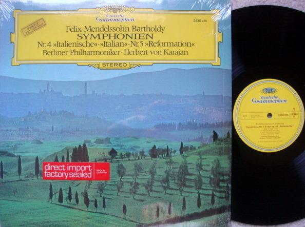 DG / Mendelssohn Symphony No.4 & 5, - KARAJAN/BPO, MINT, Promo Copy!