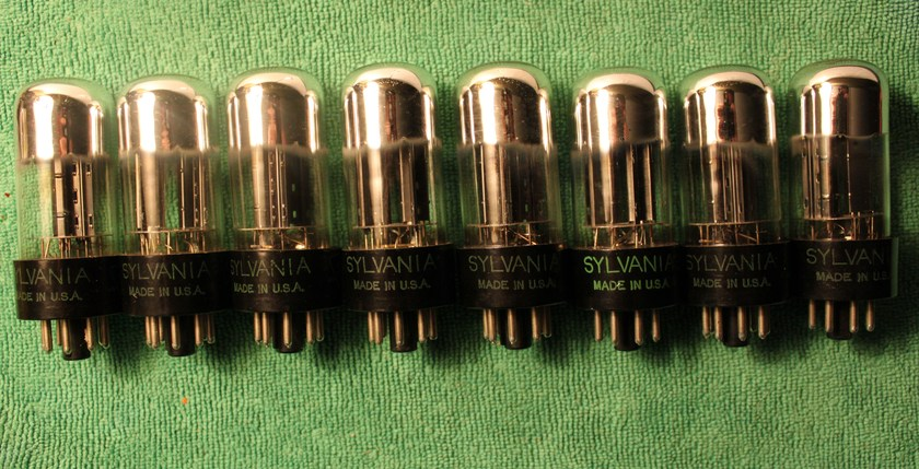 8 SYLVANIA 6SN7 GTA CHROME DOME VACUUM TUBES BLACK PLATES & MATCHING 1955 DATE CODES TV-7D/U TESTED VERY STRONG!