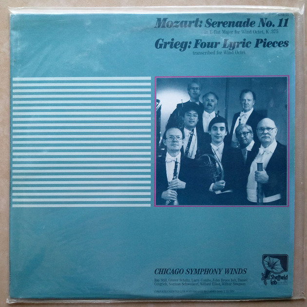 Sealed/Sheffield Lab/Mozart - Serenade No.11, Grieg Four Lyric Pieces  / Chicago Symphony Winds