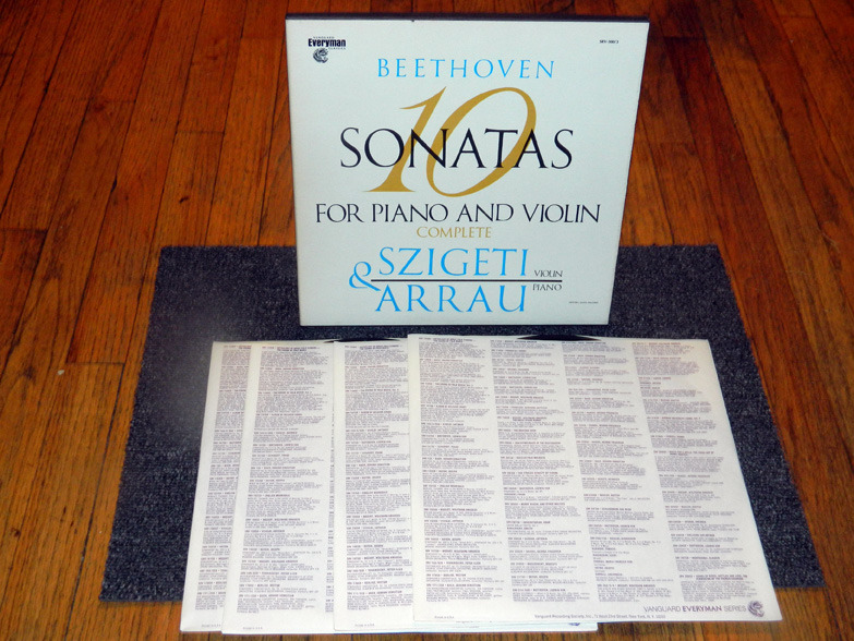 Joseph Szigeti/Claudio Arrau  - Beethoven 10 Sonatas for Piano And Violin Vanguard SRV-300/3 NM