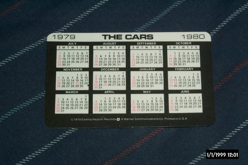 The Cars - Candy-O Promo Card with Calendar