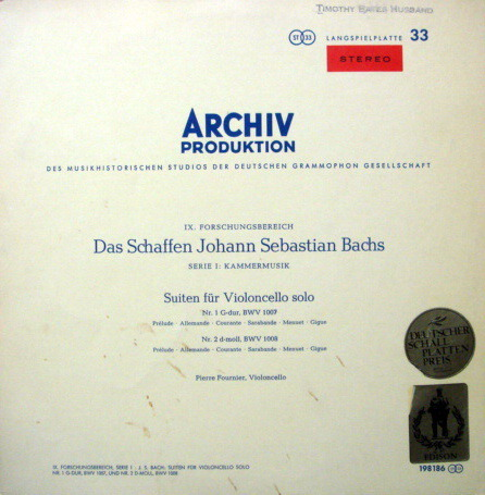 1st Press Archiv / FOURNIER, - Bach Suites for Cello Solo No.1 & 2, MINT!