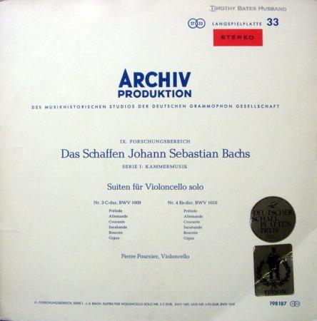 1st Press Archiv / FOURNIER, - Bach Suites for Cello Solo No.3 & 4, MINT!