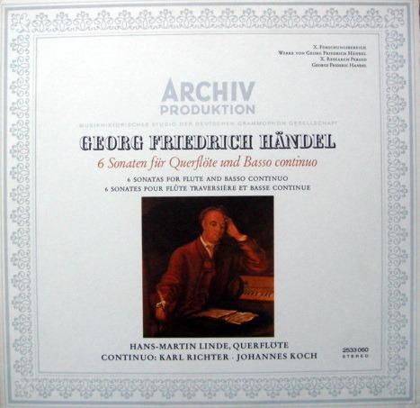 1st Press Archiv / RICHTER, - Handel 6 Sonatas for Flute & Basso Continuo, MINT!