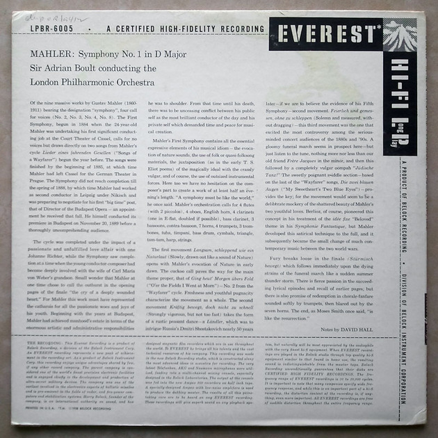 Everest/Adrian Boult/Mahler - Symphony No.1 / NM