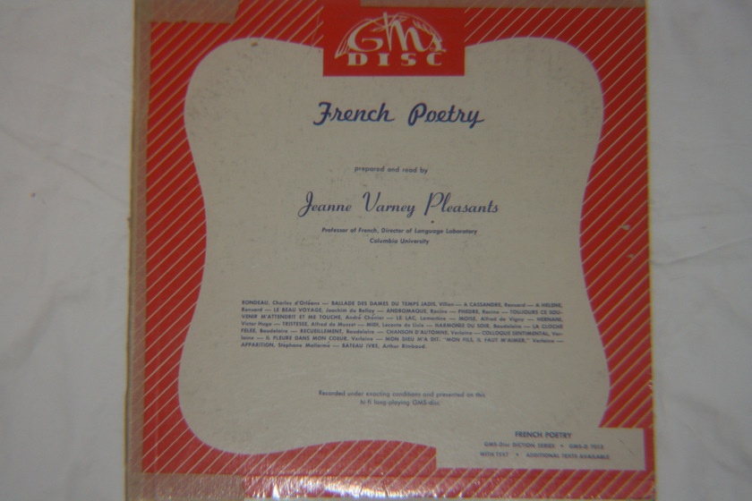 Jeanne Varney Pleasants - French Poetry GMS-Disc 7013