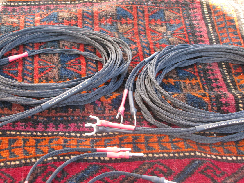 Clear Day Cables Double Shotgun/Spade terminations 12 feet stereo set w/7.5 inch jumpers