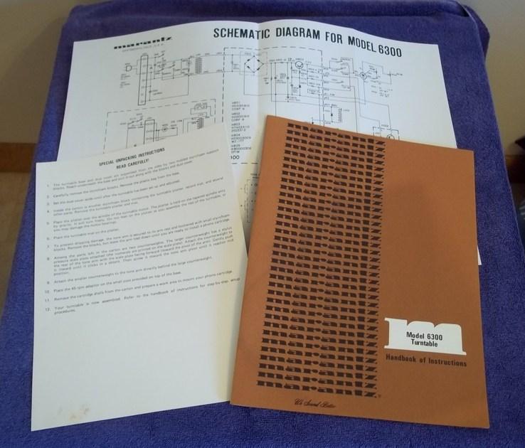 Marantz 6300  manuals and original paperwork  excellent