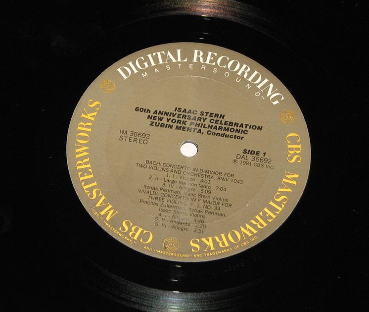 Zukerman Perlman Mehta - Issac Stern 60th Anniv Celebration CBS Mastersound Audiophile Pressing NM-