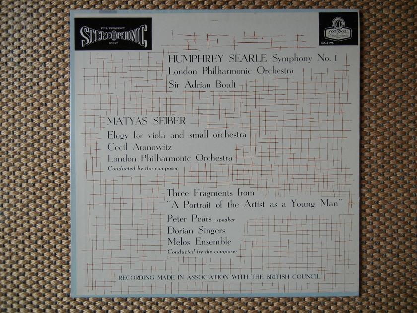 Searle/Seiber/Pears - Symphony 1/Elegy, 3 Fragments/Pears/Melos EnsembleLSO?Boult London FFSS CS 6196 Blue Back