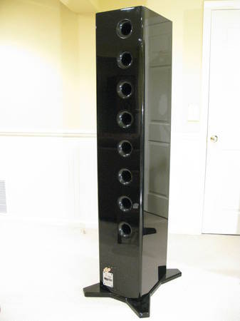 AV123 LS6 Line Source speakers in piano black