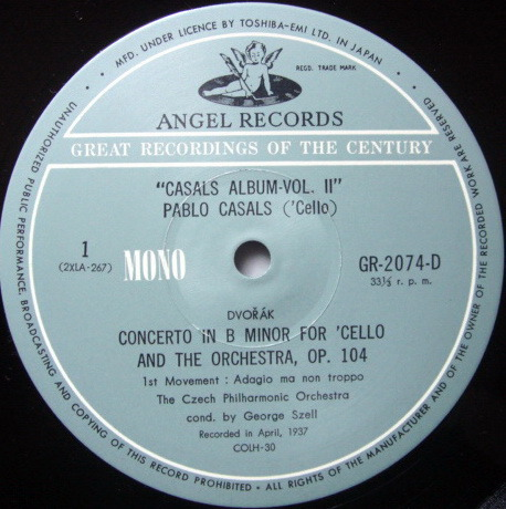 ★Audiophile★ Toshiba EMI / PABLO CASALS, - Album 2, MINT, 4LP Box Set!