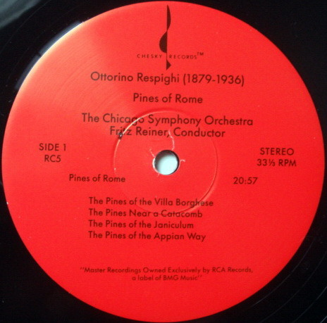 ★Audiophile 180g★ Chesky / REINER, - Respighi Pines-Fountains of Rome, MINT(OOP)!
