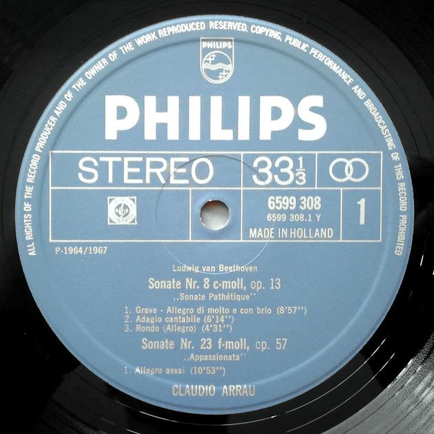 Philips/Arrau/Beethoven - Moonlight, Pathetique, Appassionata Sonatas / NM