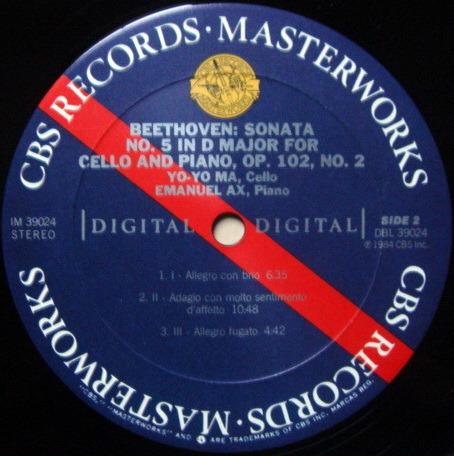 CBS Digital / YO-YO MA, - Beethoven Cello Sonatas No.3 & 5, MINT!