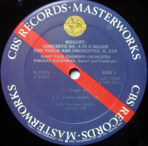 CBS Digital / ZUKERMAN, - Mozart Violin Conerto No.4, MINT!