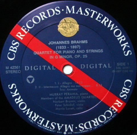 CBS Digital / PERAHIA-AMADEUS QT, - Brahms Piano Quartet, MINT!