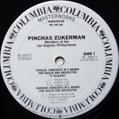 CBS / ZUKERMAN, - Baroque Violin Conertos, MINT, White Promo Copy!