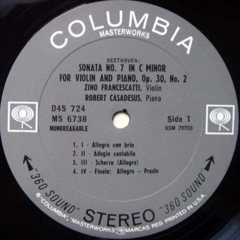 Columbia 2-EYE / FRANCESCATTI-CASADESUS, - Beethoven Violin Sonatas No.7 & 10, MINT, Rare Promo Copy!