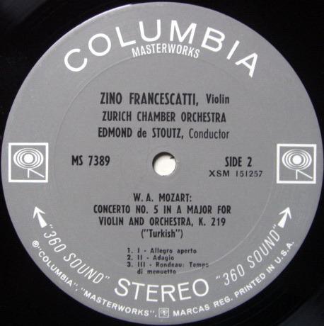 Columbia 2-EYE / FRANCESCATTI-STOULTZ, - Mozart Violin concertos No.2 & 5, NM!