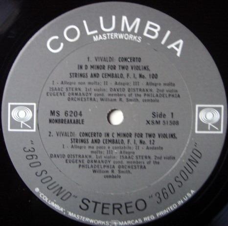 Columbia 2-EYE / OISTRAKH-STERN-ORMANDY, - Vivaldi Concertos for Two Violins, NM!
