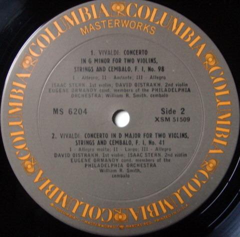 Columbia / OISTRAKH-STERN-ORMANDY, - Vivaldi Concertos for Two Violins, MINT!