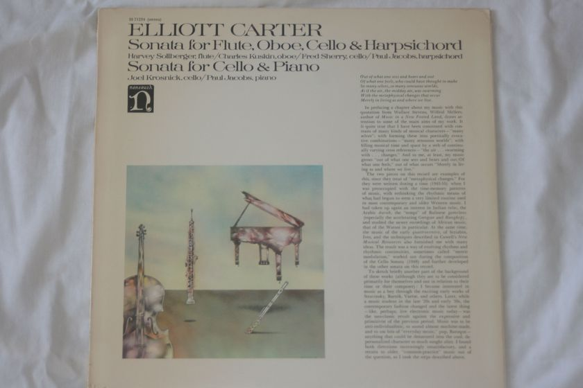 Elliot Carter - Sonata for Flute, Oboe, Cello, & Harpsichord & Sonata for Cello & Piano NoneSuch Records