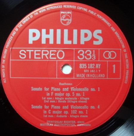 Philips / ROSTROPOVICH-RICHETER, - Beethoven Complete Cello Sonatas, NM, 2LP Box Set!