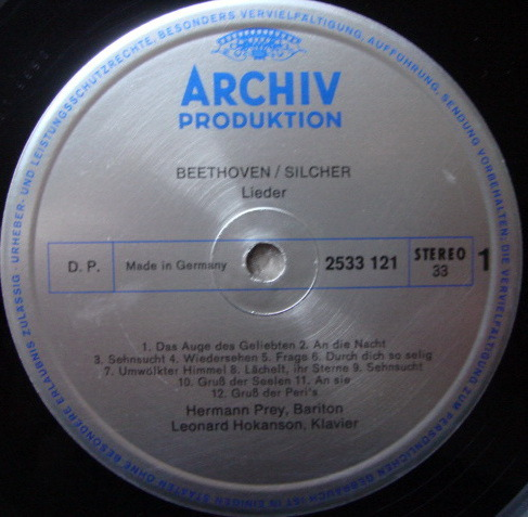 Archiv / HERMANN PREY, - Beethoven Melodies from Sonatas & Symphonies, MINT!