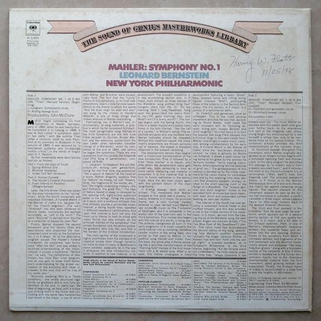 Columbia/Bernstein/Mahler - Symphony No.1 / VG++