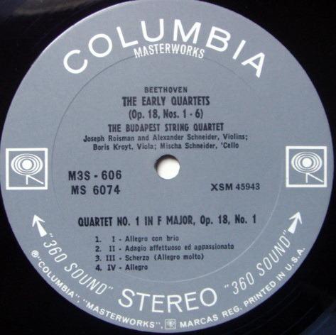 Columbia 2-EYE / BUDAPEST QT, - Beethoven String Quartet No.1 & 2, MINT!