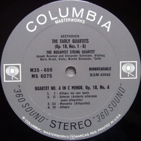 Columbia 2-EYE / BUDAPEST QT, - Beethoven String Quartet No.3 & 4, MINT!