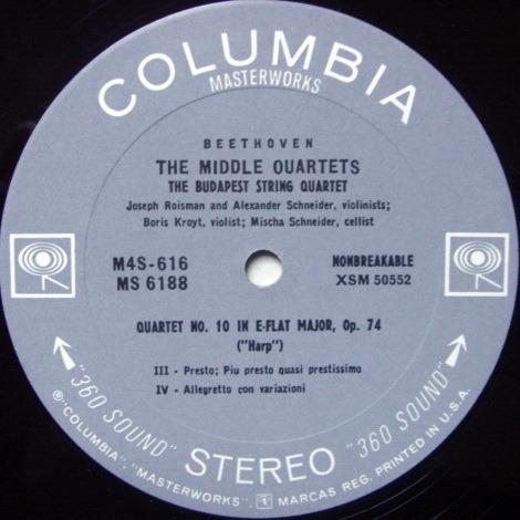 Columbia 2-EYE / BUDAPEST QT, - Beethoven String Quartet No10, MINT!