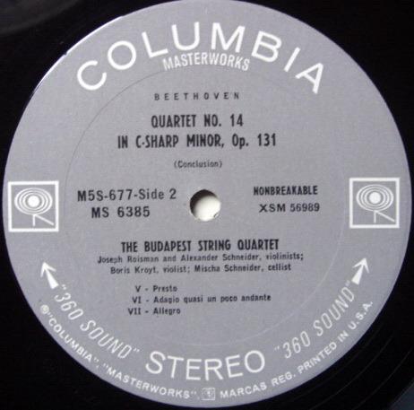 Columbia 2-EYE / BUDAPEST QT, - Beethoven String Quartet No14, MINT!
