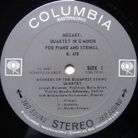 Columbia 2-EYE / BUDAPEST QT-HORSZOWSKI, - Mozart Piano Quartets, MINT!