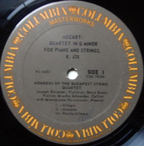 Columbia / BUDAPEST QT-HORSZOWSKI, - Mozart Piano Quartets, VG+!