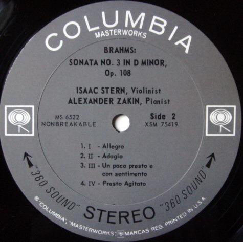 Columbia 2-EYE / STERN-ZAKIM, - Brahms Violin Sonatas No.1 & 3, MINT, Rare 1st Press Promo Copy!