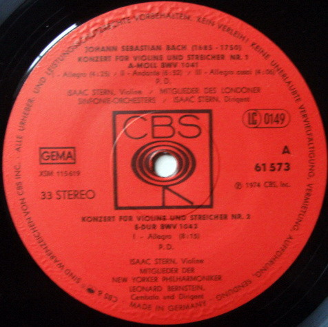 Columbia Germany / STERN, - Bach Violin Concertos No.1 & 2, MINT!