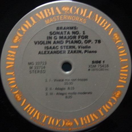 Columbia / STERN-ZAKIN, - Brahms Violin Sonatas, MINT, 2 LP Set!