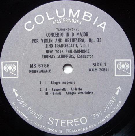 Columbia 2-EYE / FRANCESCATTI-SZELL, - Tchaikovsky Violin Concerto, NM-!