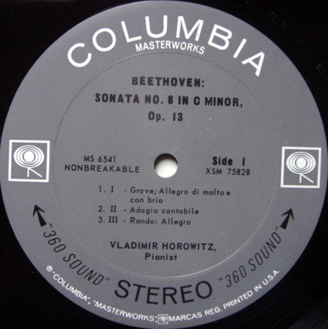 Columbia 2-EYE / VLADIMIR HOROWITZ,  - Beethoven Piano Sonata No.8 Pathetique, EX!