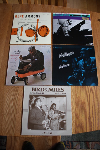 Five NM Jazz LPs, Ammons, Kelly,  - Monk, Mulligan, Bird and Miles, Played Twice