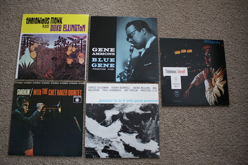 Five NM Jazz Lps by Monk, Ammons, - and Chet Baker,Original Owner,  Played Twice