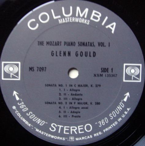 Columbia 2-EYE / GLENN GOULD, - Mozart Piano Sonatas No.1-5, NM-!