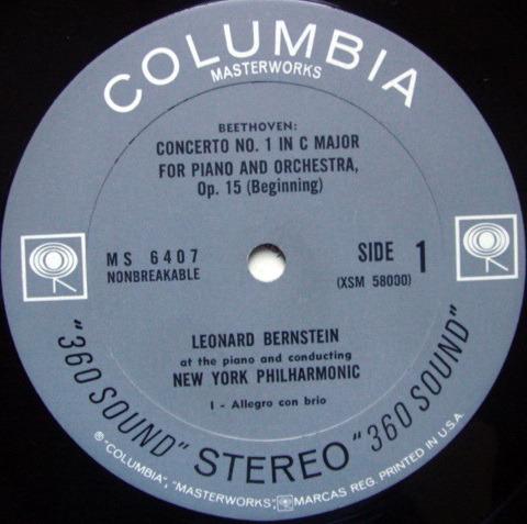 Columbia 2-EYE / BERNSTEIN, - Beethoven Piano Concerto No.1, NM!
