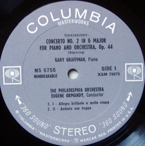 Columbia 2-EYE / GRAFFMAN-ORMANDY, - Tchaikovsky Piano Concertos No.2 & 3, NM, Promo Copy!